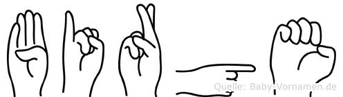 Birge im Fingeralphabet der Deutschen Gebärdensprache