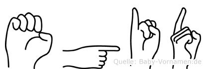 Egid im Fingeralphabet der Deutschen Gebärdensprache