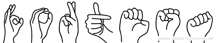 Fortesa im Fingeralphabet der Deutschen Gebärdensprache