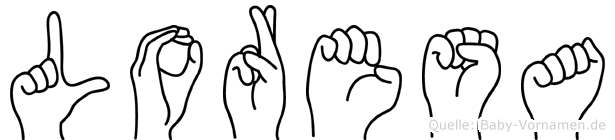 Loresa im Fingeralphabet der Deutschen Gebärdensprache