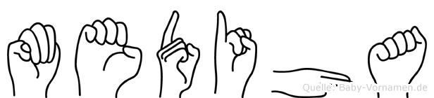 Mediha im Fingeralphabet der Deutschen Gebärdensprache