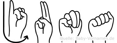Juna im Fingeralphabet der Deutschen Gebärdensprache