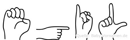 Egil im Fingeralphabet der Deutschen Gebärdensprache