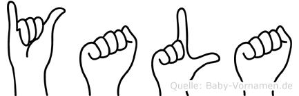 Yala im Fingeralphabet der Deutschen Gebärdensprache