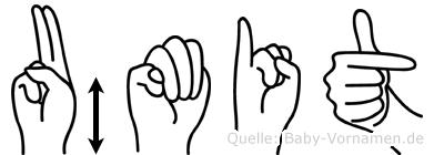 Ümit im Fingeralphabet der Deutschen Gebärdensprache