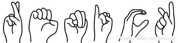Renick im Fingeralphabet der Deutschen Gebärdensprache