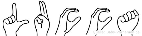 Lucca im Fingeralphabet der Deutschen Gebärdensprache