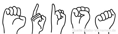Edisa im Fingeralphabet der Deutschen Gebärdensprache