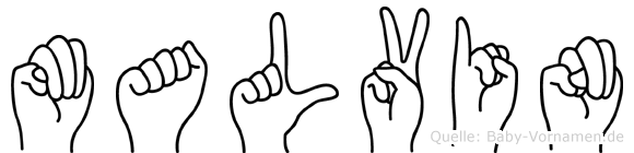 Malvin im Fingeralphabet der Deutschen Gebärdensprache