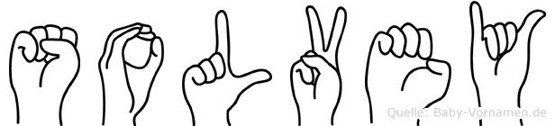 Solvey im Fingeralphabet der Deutschen Gebärdensprache