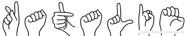 Katalie im Fingeralphabet der Deutschen Gebärdensprache