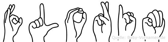 Florim im Fingeralphabet der Deutschen Gebärdensprache