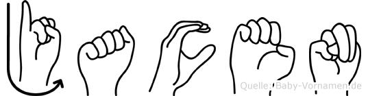 Jacen im Fingeralphabet der Deutschen Gebärdensprache