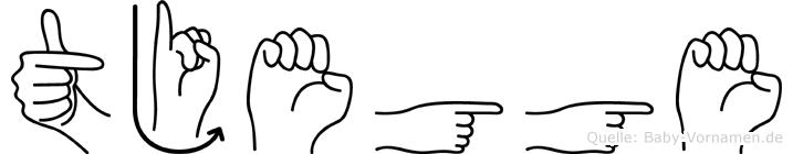 Tjegge im Fingeralphabet der Deutschen Gebärdensprache