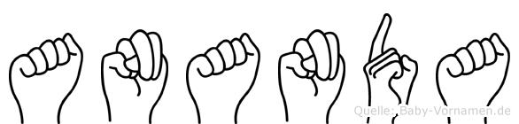 Ananda im Fingeralphabet der Deutschen Gebärdensprache