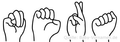 Nera im Fingeralphabet der Deutschen Gebärdensprache