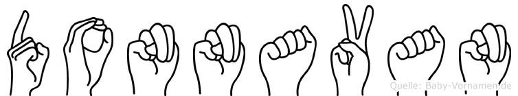 Donnavan im Fingeralphabet der Deutschen Gebärdensprache