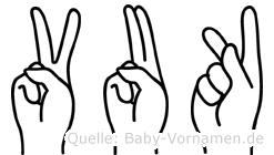Vuk im Fingeralphabet der Deutschen Gebärdensprache