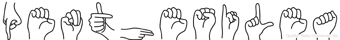 Penthesilea im Fingeralphabet der Deutschen Gebärdensprache
