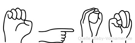 Egon im Fingeralphabet der Deutschen Gebärdensprache