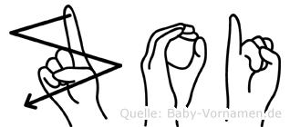 Zoi im Fingeralphabet der Deutschen Gebärdensprache