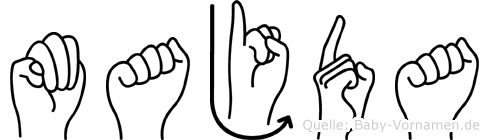 Majda im Fingeralphabet der Deutschen Gebärdensprache