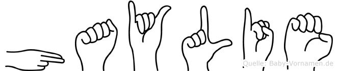 Haylie im Fingeralphabet der Deutschen Gebärdensprache