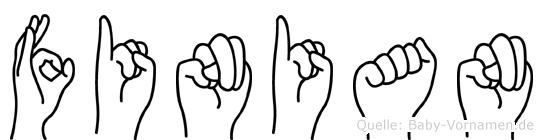 Finian im Fingeralphabet der Deutschen Gebärdensprache