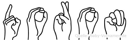 Doron im Fingeralphabet der Deutschen Gebärdensprache