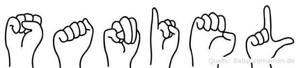Saniel im Fingeralphabet der Deutschen Gebärdensprache