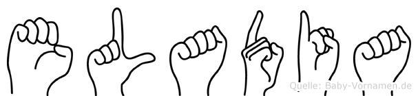 Eladia im Fingeralphabet der Deutschen Gebärdensprache