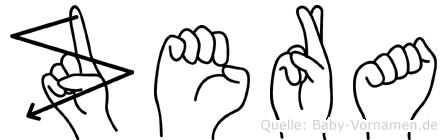 Zera im Fingeralphabet der Deutschen Gebärdensprache