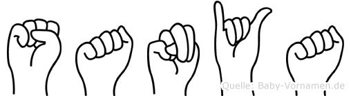 Sanya im Fingeralphabet der Deutschen Gebärdensprache