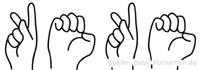 Keke im Fingeralphabet der Deutschen Gebärdensprache