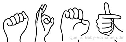 Afet im Fingeralphabet der Deutschen Gebärdensprache