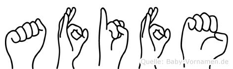 Afife im Fingeralphabet der Deutschen Gebärdensprache