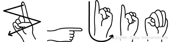Zgjim im Fingeralphabet der Deutschen Gebärdensprache