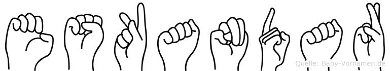 Eskandar im Fingeralphabet der Deutschen Gebärdensprache
