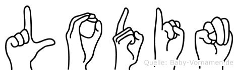 Lodin im Fingeralphabet der Deutschen Gebärdensprache