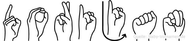 Dorijan im Fingeralphabet der Deutschen Gebärdensprache