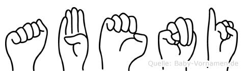 Abeni im Fingeralphabet der Deutschen Gebärdensprache