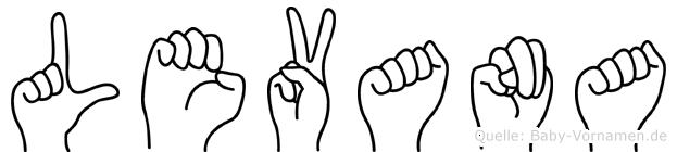 Levana im Fingeralphabet der Deutschen Gebärdensprache