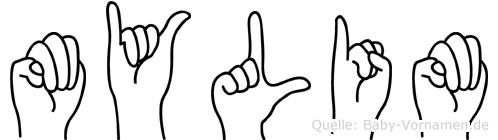 Mylim im Fingeralphabet der Deutschen Gebärdensprache