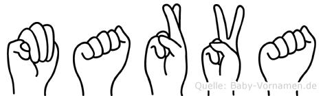 Marva im Fingeralphabet der Deutschen Gebärdensprache