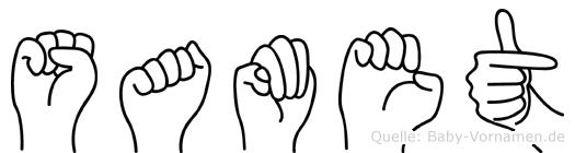 Samet im Fingeralphabet der Deutschen Gebärdensprache