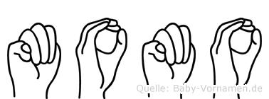 Momo im Fingeralphabet der Deutschen Gebärdensprache