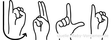 Juli in Fingersprache für Gehörlose