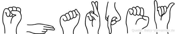 Sharpey im Fingeralphabet der Deutschen Gebärdensprache