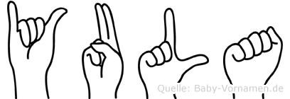 Yula im Fingeralphabet der Deutschen Gebärdensprache