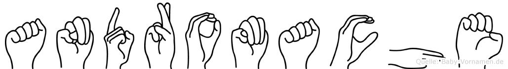 Andromache im Fingeralphabet der Deutschen Gebärdensprache